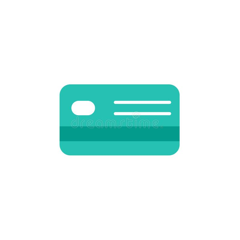 Credit Debit Card. Bank account sign. Vector flat icon isolated on white. Turquoise color. royalty free illustration