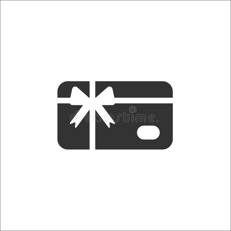 Credit debit card with bow and ribbon. Gift card icon. Bank present sign royalty free illustration