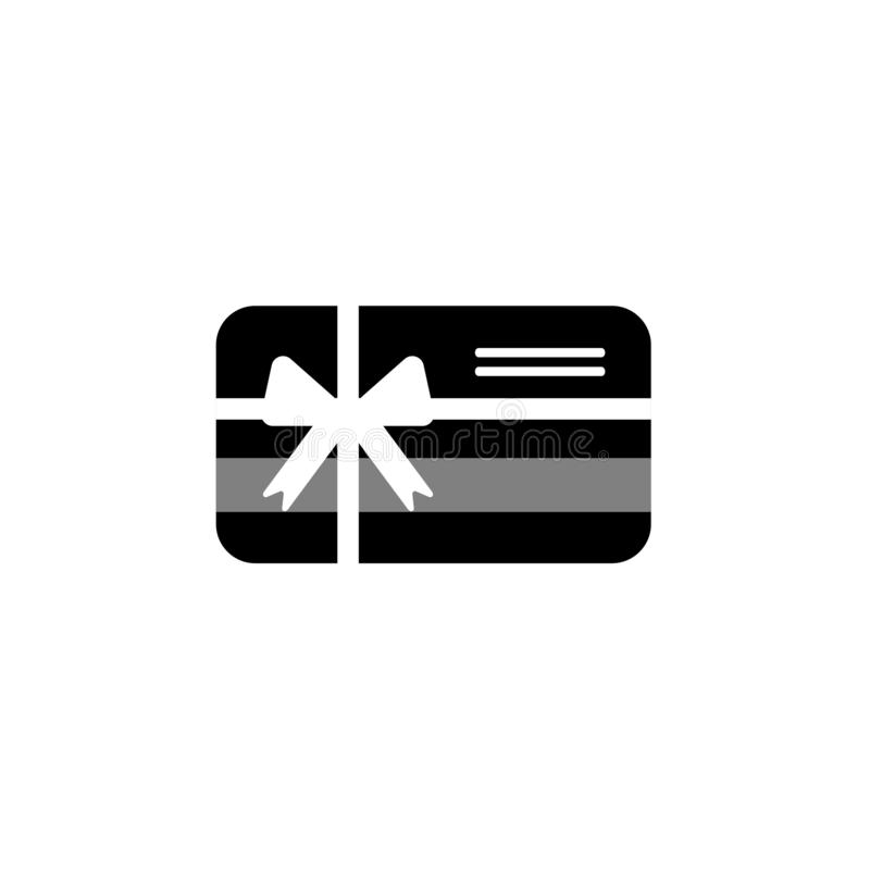 Credit debit card with bow and ribbon. Gift card icon. Bank present sign. royalty free illustration