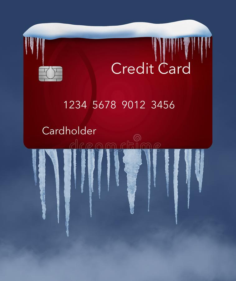 A credit freeze, or freeze on your credit report is represented with icicles and snow on a mock credit report isolated on the stock image