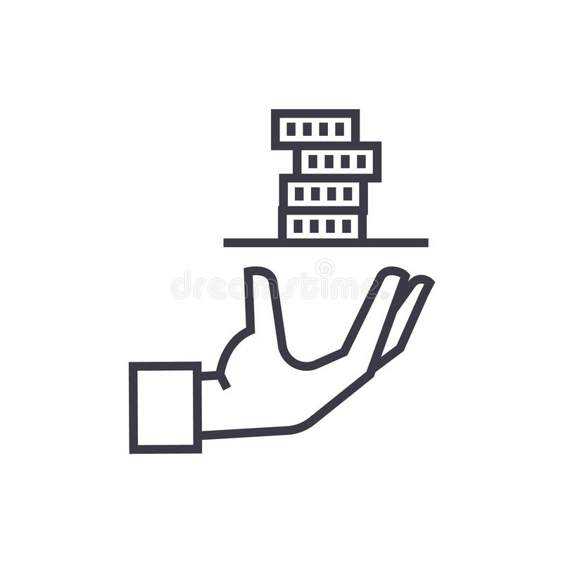Credit loan, hand with money linear icon, sign royalty free illustration