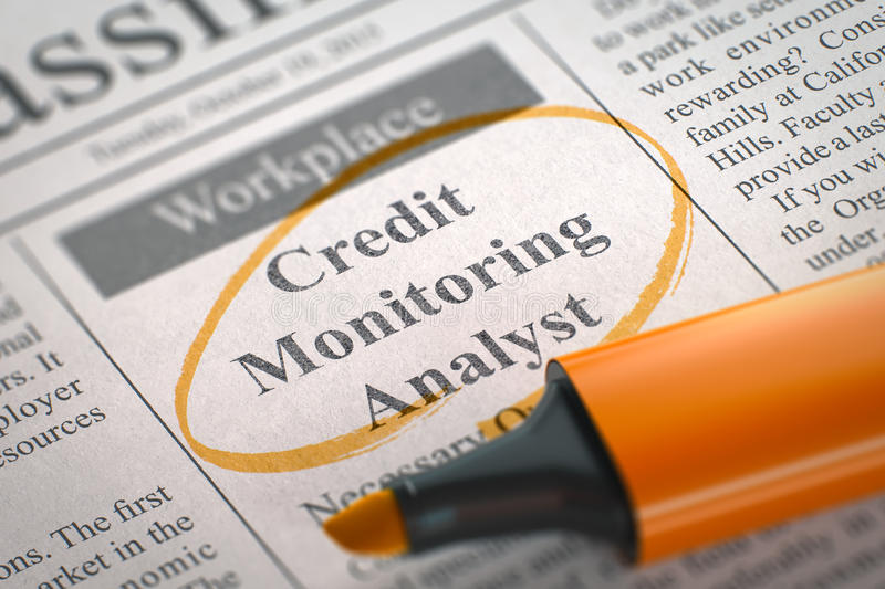 Credit Monitoring Analyst Join Our Team. 3D. Credit Monitoring Analyst - Classified Advertisement of Hiring in Newspaper, Circled with a Orange Highlighter stock photos