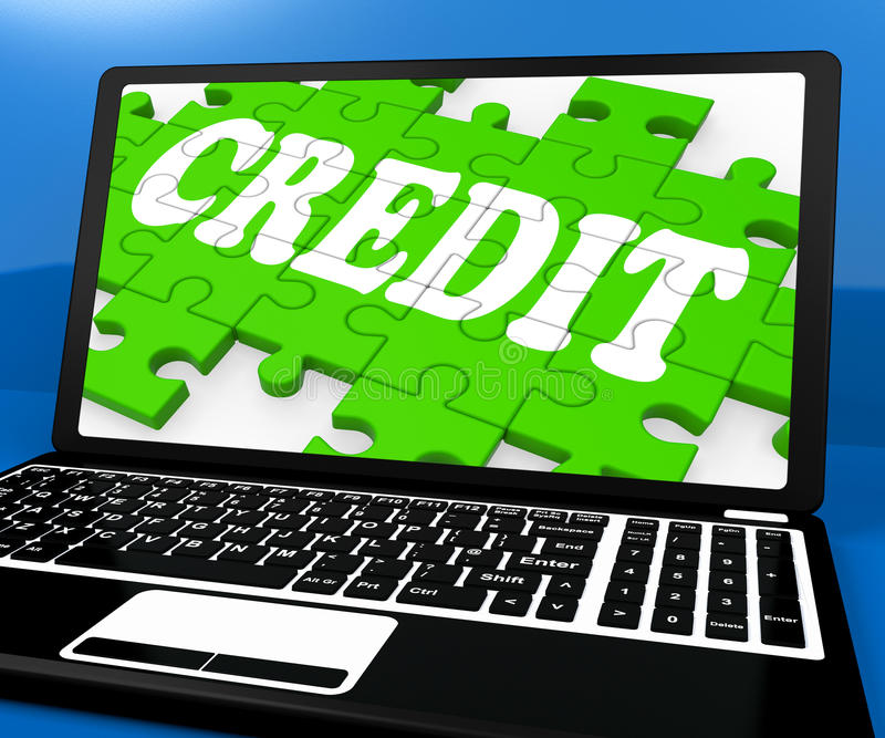 Credit Puzzle On Notebook Shows Online Purchases stock illustration
