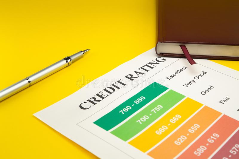 Credit rating on a yellow table, pen, notebook stock image