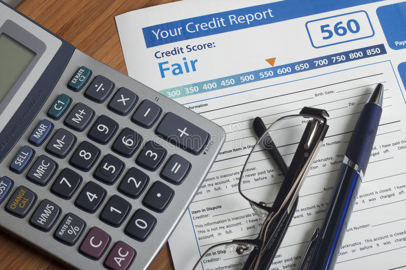 Credit report with score. On a desk