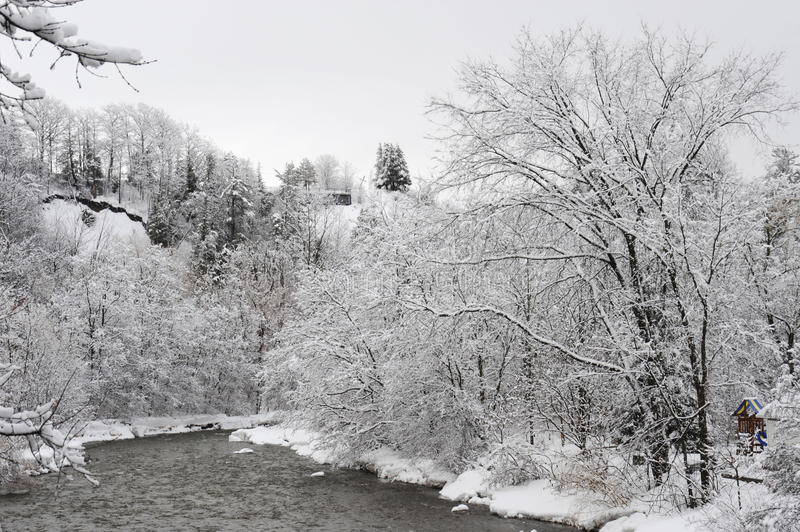 Credit River in the cold winter morning royalty free stock photo