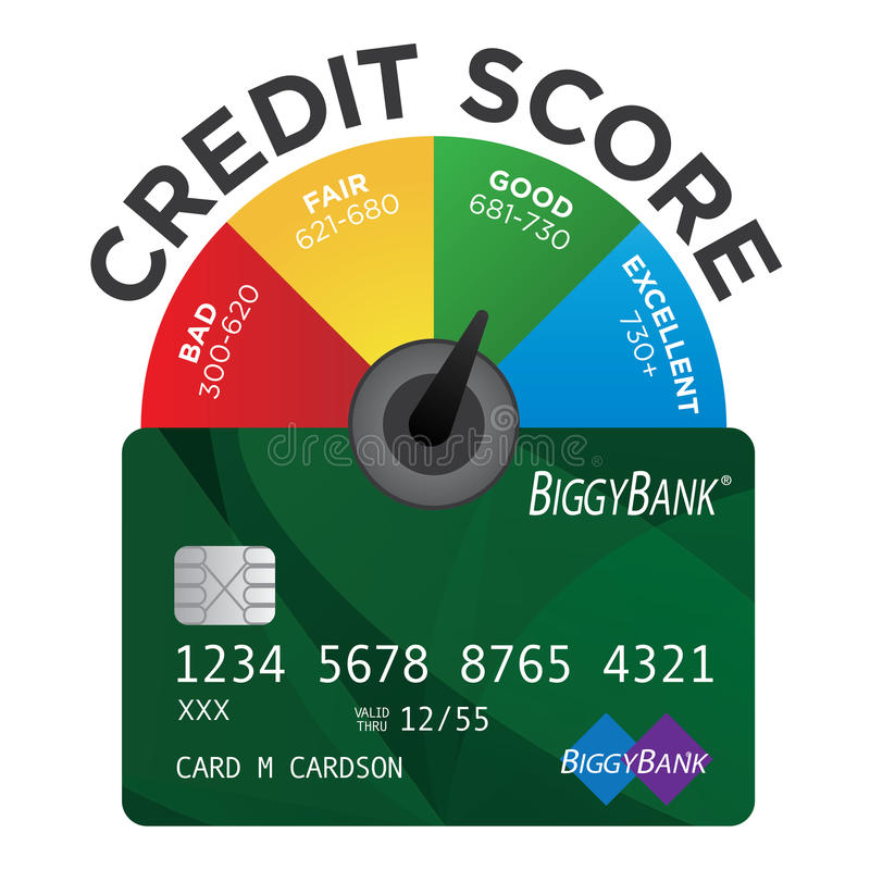 Credit Score Chart. With Realistic Credit Card royalty free illustration
