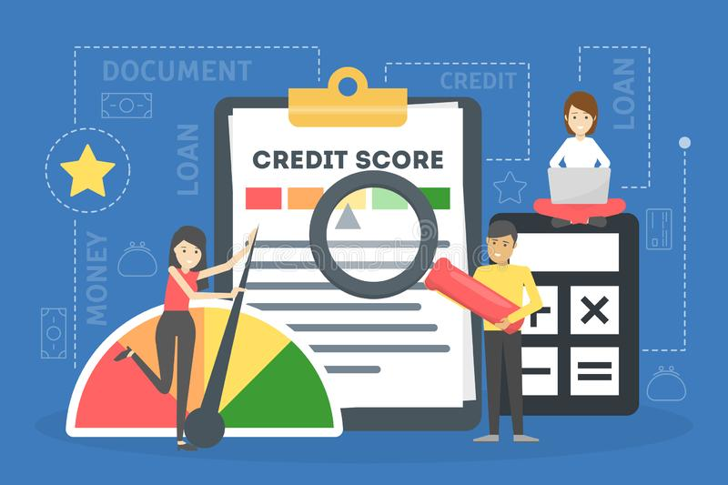 Credit score concept. Document with personal credit history royalty free illustration
