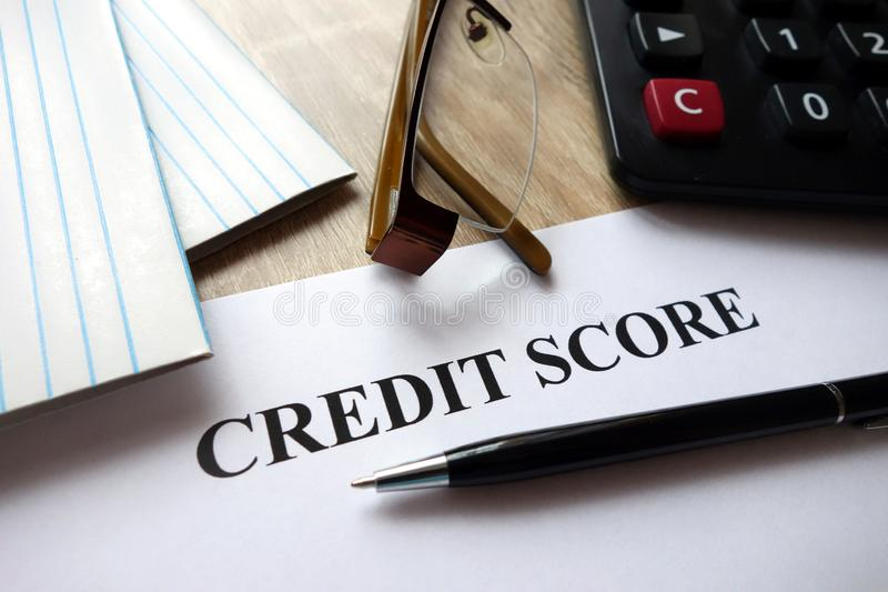Credit score document royalty free stock photography