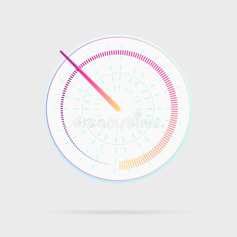 Credit score indicator icon. Speedometer for dashboard. Gauges with measuring scale. Power meters, internet speed meter stages. royalty free illustration