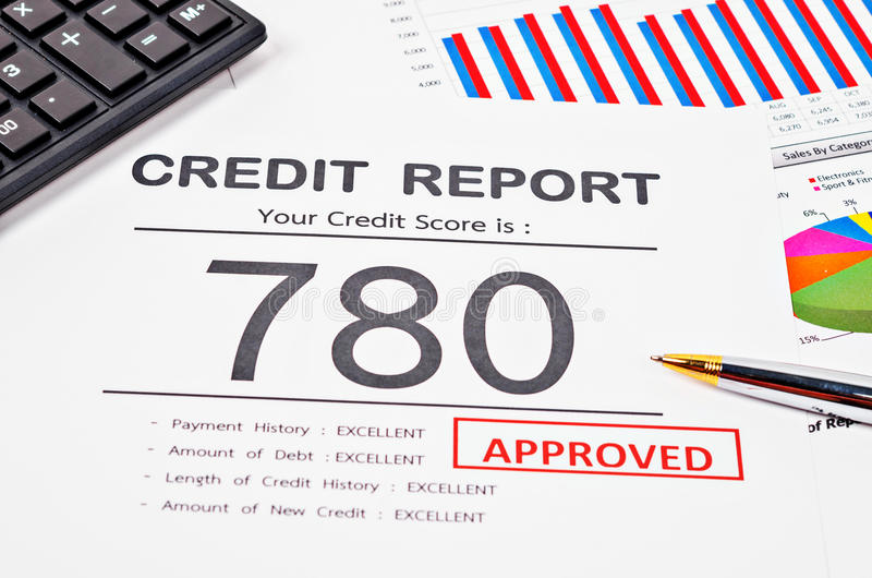 Credit score report stock photography