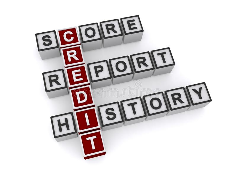 Credit score report history word blocks. On white background royalty free stock photos