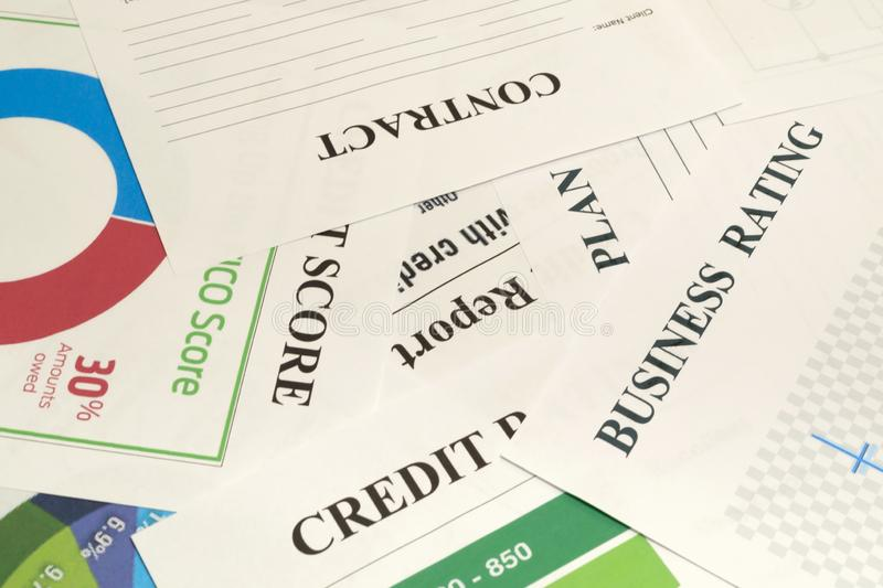 Credit score, report, rating and contract on the table stock photography