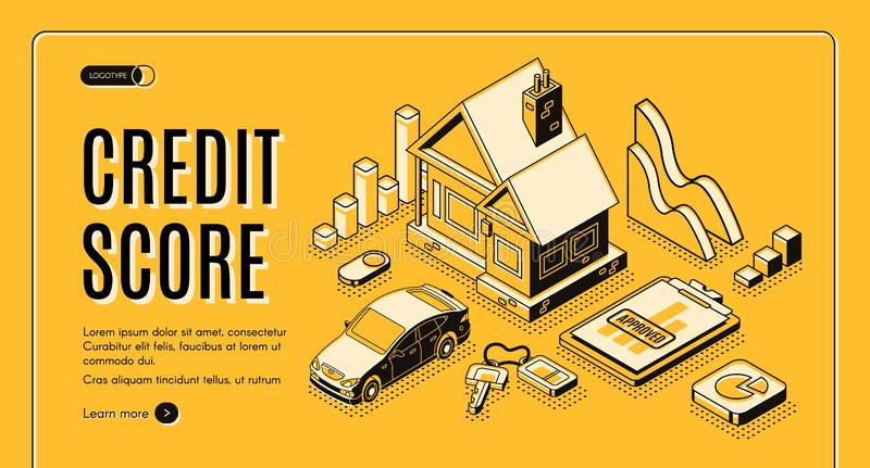 Credit score service isometric vector website vector illustration