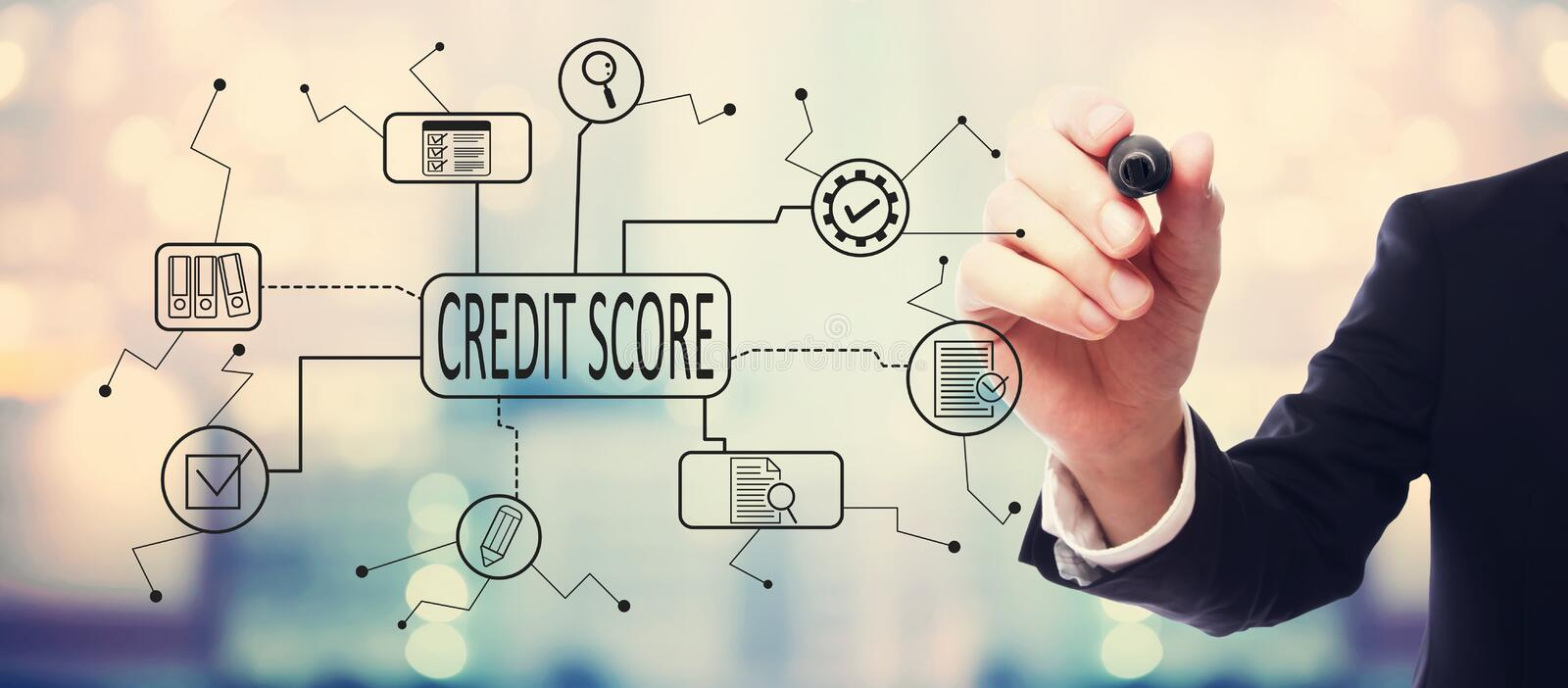 Credit score theme with businessman vector illustration