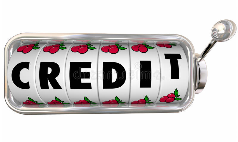 Credit Slot Machine Wheels Dials Improve Score Rating Borrow Mon vector illustration