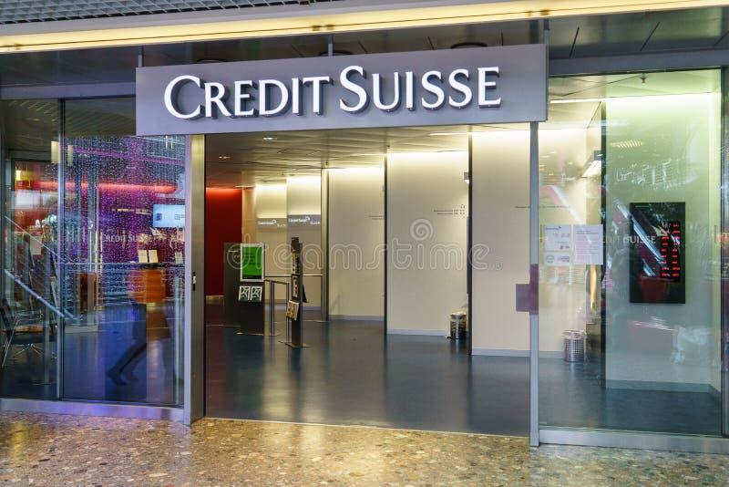 Credit Suisse bank. Branch in Geneva, Switzerland. Photo taken on: April 03rd, 2015 royalty free stock images
