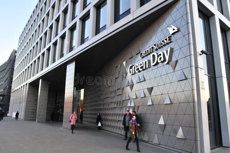 Credit Suisse, Green Day-Büros errichtete im Jahre 2017 in Breslau Haupteingang, stockfotografie