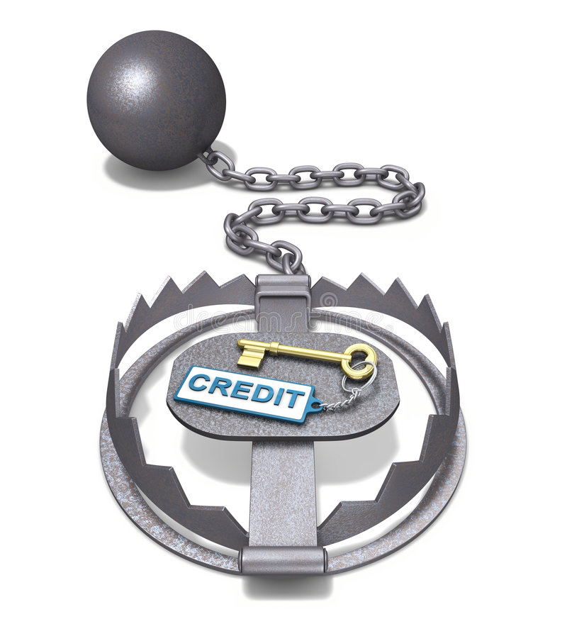 Credit and trap. 3D concept with the trap and home key over white background stock illustration
