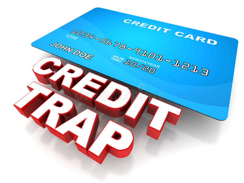 Credit trap. Concept with a credit card, too much credit use can lead to financial crisis
