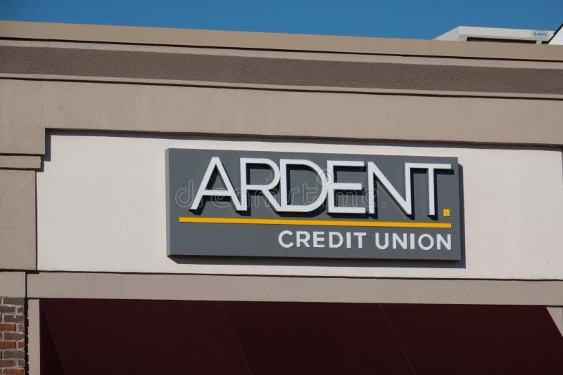 Credit Union ardent se connectent leur emplacement bleu de Bell photo libre de droits