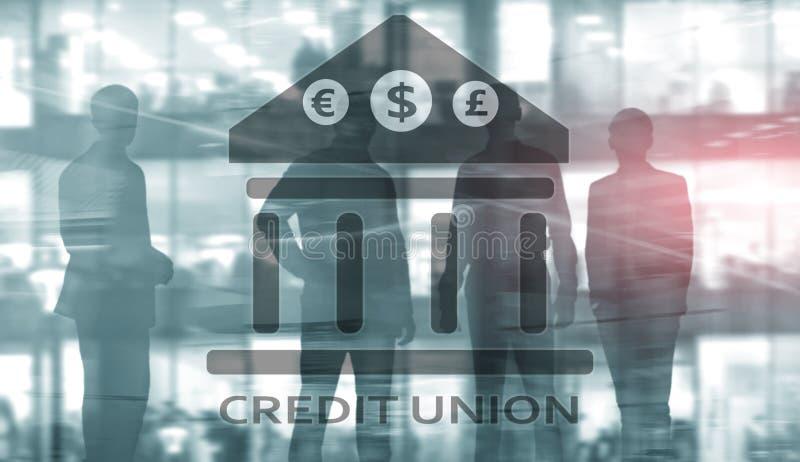 Credit Union De financi?le behulpzame bankwezendiensten De abstracte achtergrond van financi?n vector illustratie