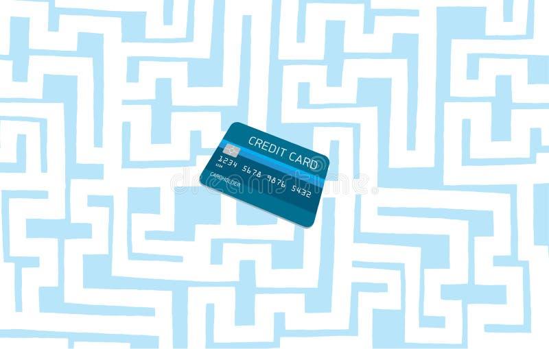 Creditcard in complex labyrint of labyrint wordt verborgen dat vector illustratie