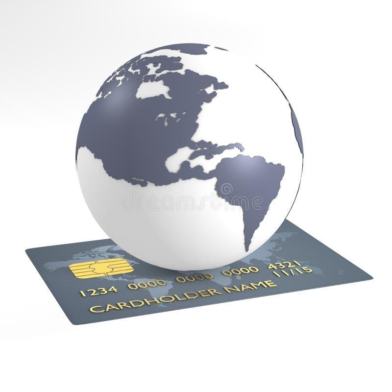 Creditcard een aarde stock illustratie
