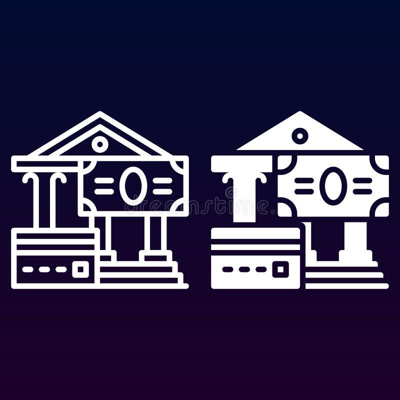 Creditcard en contante betalingenlijn en stevig pictogram, overzicht en gevuld vectorteken, lineair en volledig die pictogram op  stock illustratie
