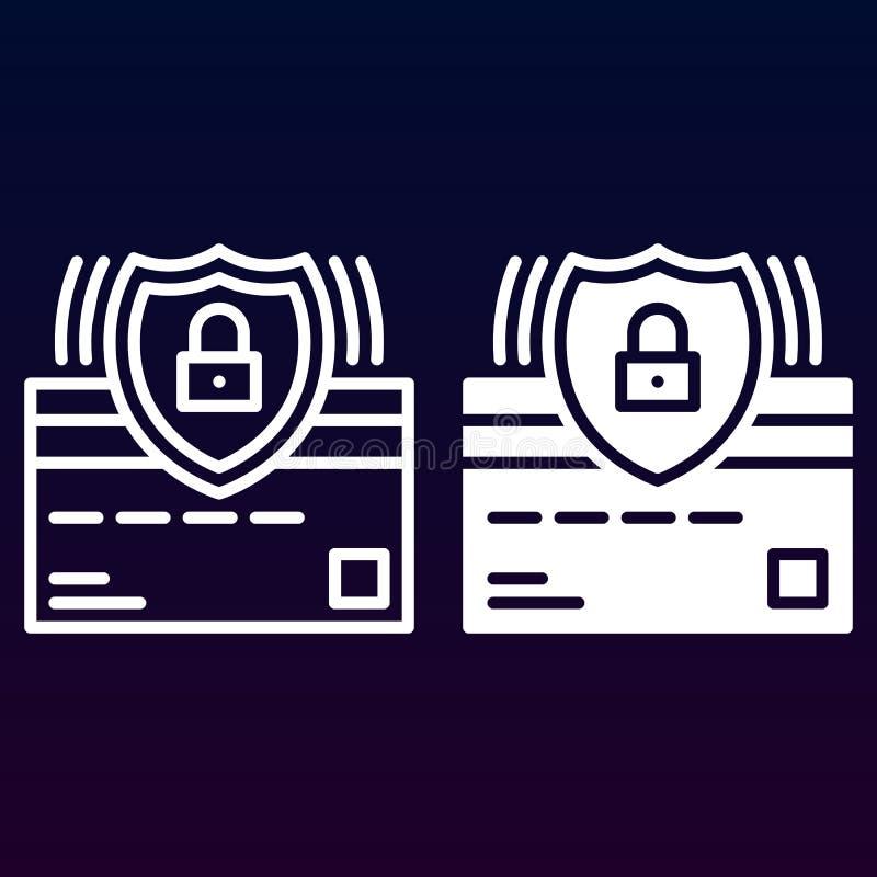 Creditcard en de lijn van het beschermingsschild en stevig pictogram, overzicht en gevuld vectorteken, lineair en volledig die pi royalty-vrije illustratie