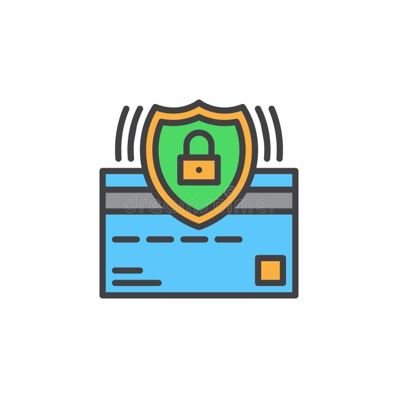 Creditcard en de lijnpictogram van het beschermingsschild, gevuld overzichts vectorteken, lineair kleurrijk die pictogram op wit  vector illustratie