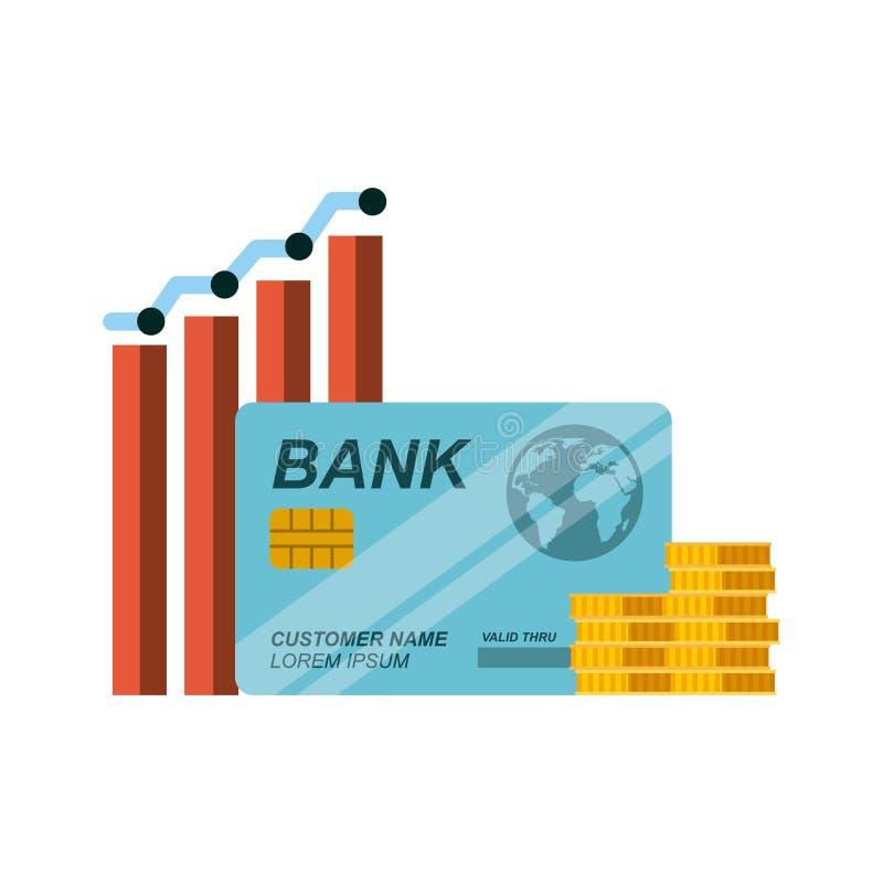 creditcard en gouden muntstukken stock illustratie