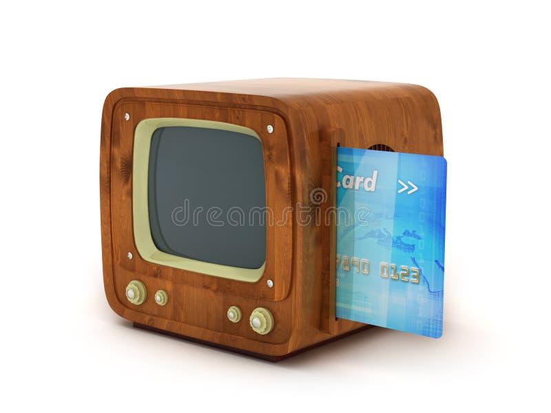 Creditcard en retro TV royalty-vrije illustratie