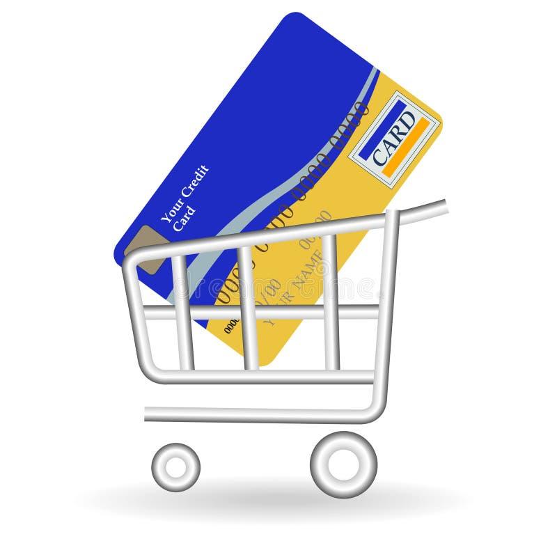 Creditcard en stootkar vector illustratie