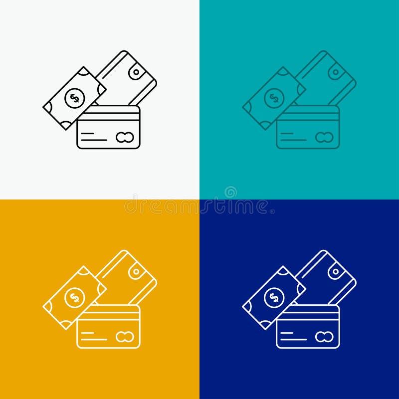 creditcard, geld, munt, dollar, portefeuillepictogram over Diverse Achtergrond r Eps 10 royalty-vrije illustratie
