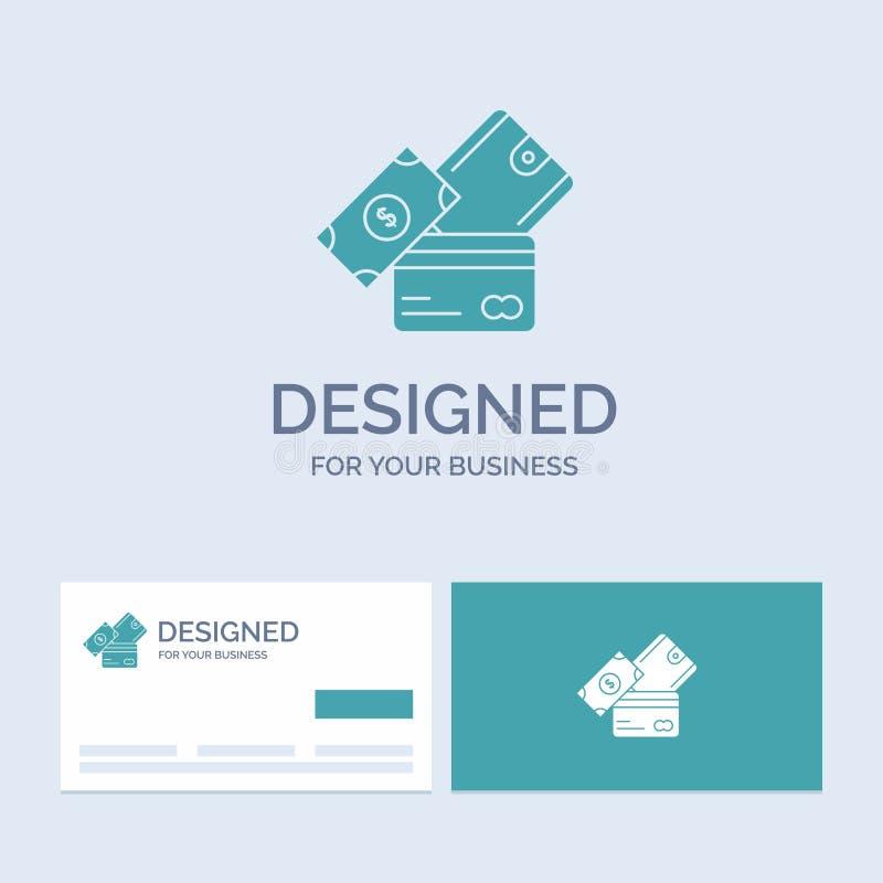 creditcard, geld, munt, dollar, portefeuillezaken Logo Glyph Icon Symbol voor uw zaken Turkooise Visitekaartjes met stock illustratie