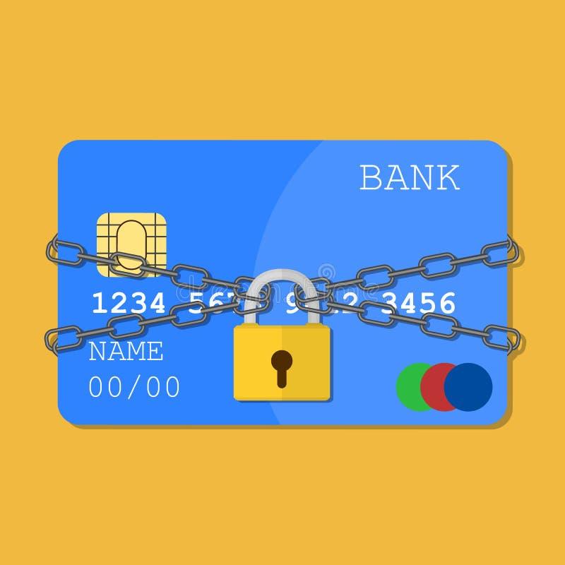 Creditcard met kettingen en stootkussenslot royalty-vrije illustratie
