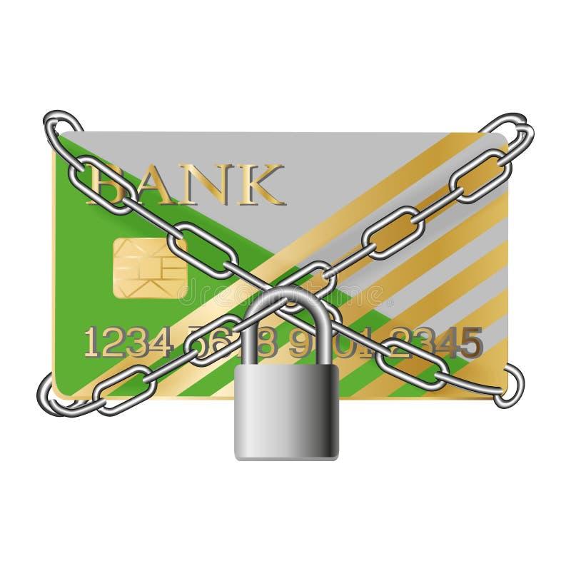 Creditcard met kettingen en stootkussenslot stock illustratie