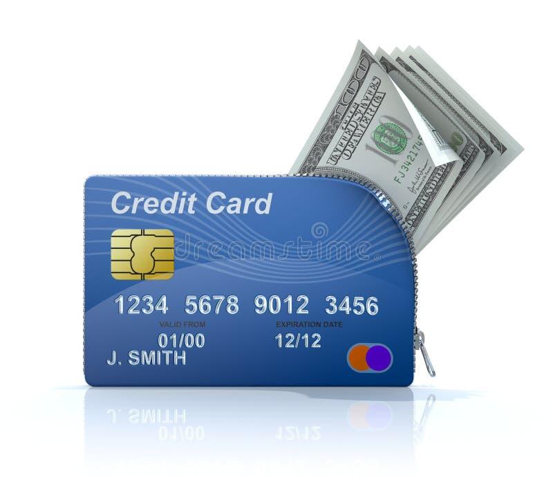 Creditcard met ritssluiting vector illustratie