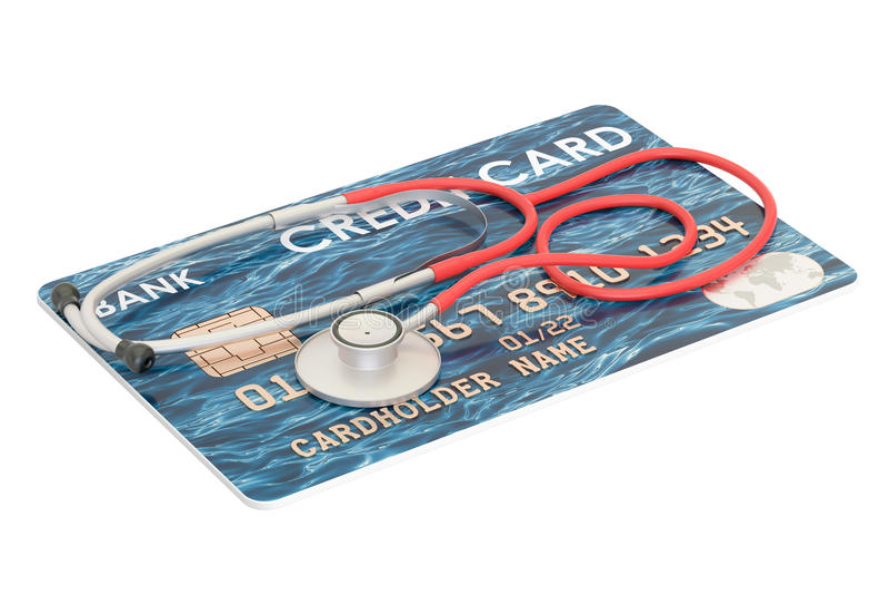 Creditcard met stethoscoop, financieel hulpconcept 3D renderin stock illustratie