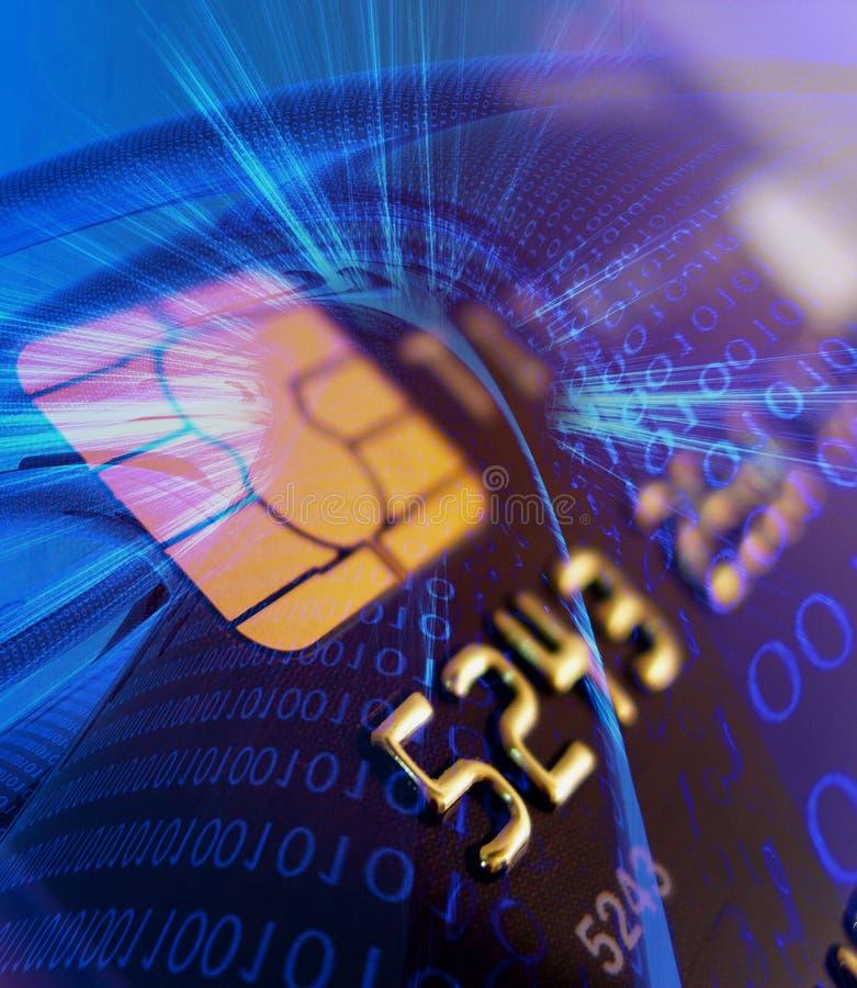 Creditcard met veilige spaander royalty-vrije illustratie