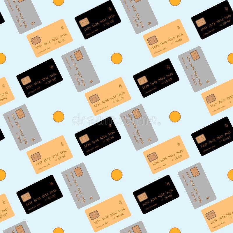 Creditcard op blauwe achtergrond wordt geïsoleerd die Naadloze patroon vectorillustratie royalty-vrije illustratie