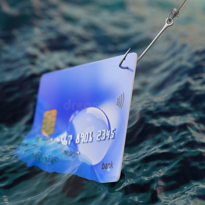 Creditcard op concept van de de illustratiefraude van de visserijhaak 3d royalty-vrije illustratie