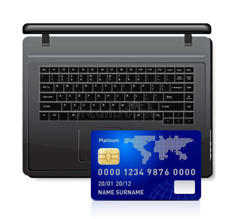 Creditcard op laptop royalty-vrije illustratie