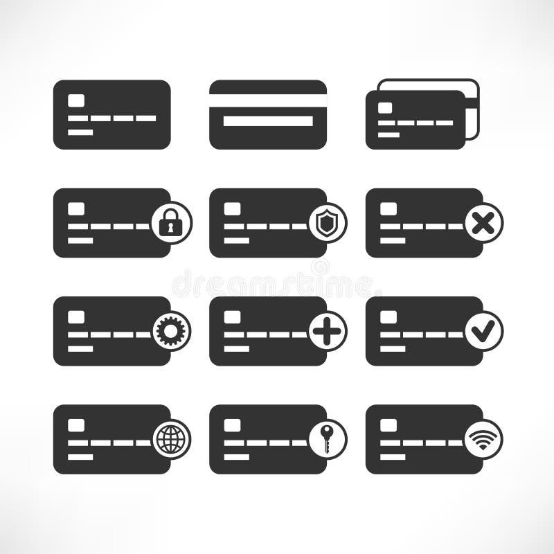 Creditcard zwarte Pictogrammen vector illustratie