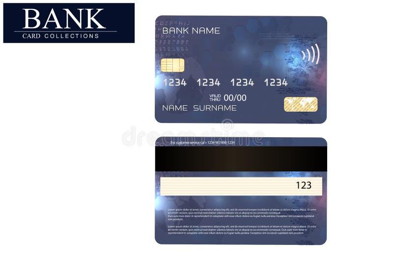 Creditcardblauw op witte achtergrond wordt geïsoleerd die Vector, EPS 10 Gedetailleerd glanzend creditcardconcept Abstract ontwer stock illustratie