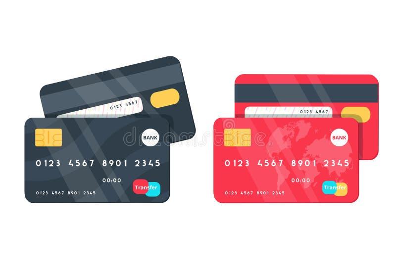 Creditcardsillustraties Voor en achtermeningen stock illustratie