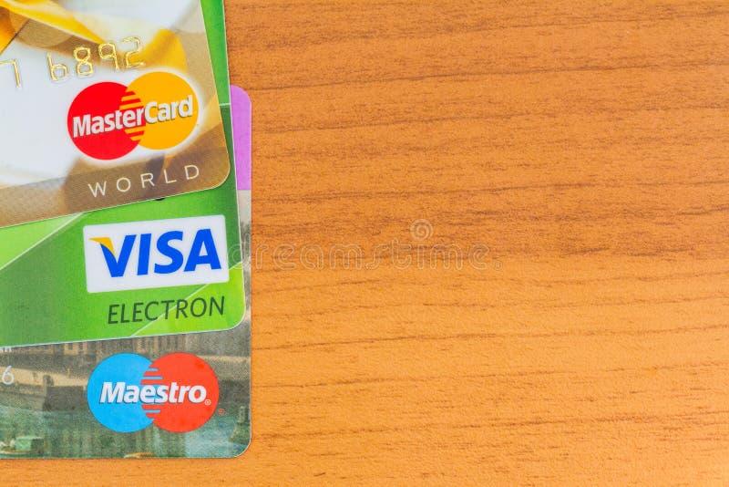 Creditcardsvisum, Maëstro's, Mastercard royalty-vrije stock fotografie