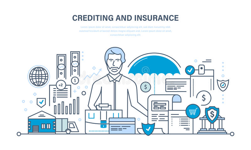 Crediting, property insurance, financial security, commercial activity, finance, business, technology. vector illustration