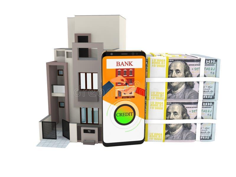 Credito di concetto nei dollari per comprare renderer domestico 3d su backg bianco illustrazione vettoriale